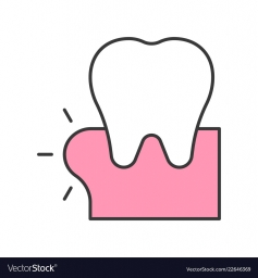 Swollen gums or gingivitis, dental related icon, filled outline